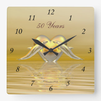 Golden Anniversary Dolphins and Heart Clocks