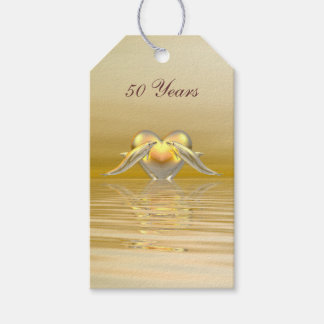 Golden Anniversary Dolphins and Heart Pack Of Gift Tags