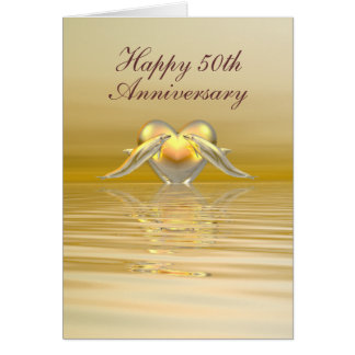 Golden Anniversary Dolphins and Heart Greeting Card