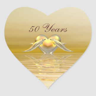 Golden Anniversary Dolphins and Heart Heart Sticker