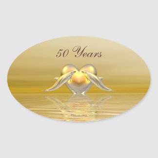 Golden Anniversary Dolphins and Heart Oval Sticker