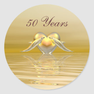 Golden Anniversary Dolphins and Heart Round Sticker