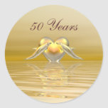 Golden Anniversary Dolphins and Heart Round Stickers