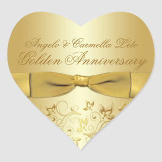 Golden Anniversary Heart Shaped Sticker