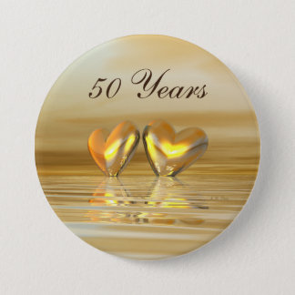 Golden Anniversary Hearts 7.5 Cm Round Badge
