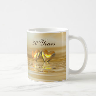 Golden Anniversary Hearts Basic White Mug
