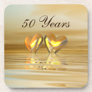 Golden Anniversary Hearts Beverage Coasters