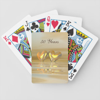Golden Anniversary Hearts Bicycle Playing Cards