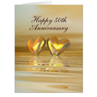 Golden Anniversary Hearts Big Greeting Card