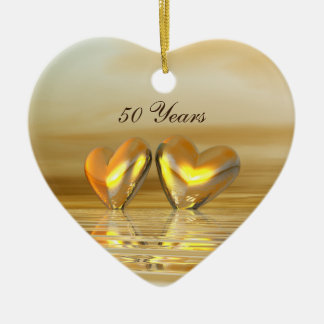 Golden Anniversary Hearts Christmas Ornament