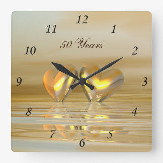 Golden Anniversary Hearts Clock
