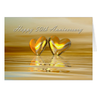 Golden Anniversary Hearts Greeting Card