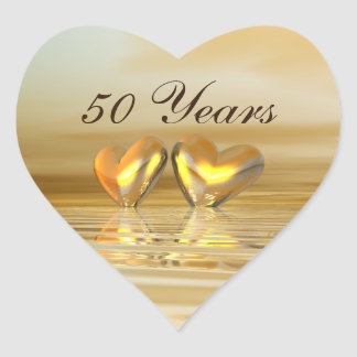 Golden Anniversary Hearts Heart Sticker