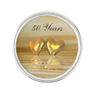 Golden Anniversary Hearts Lapel Pin