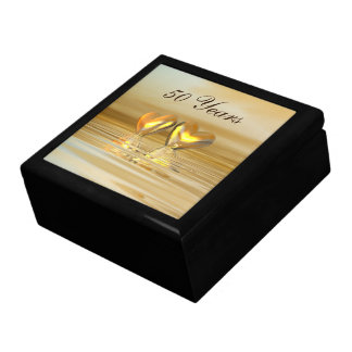 Golden Anniversary Hearts Large Square Gift Box