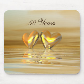 Golden Anniversary Hearts Mouse Mat