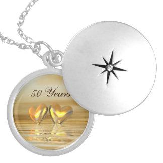 Golden Anniversary Hearts Round Locket Necklace