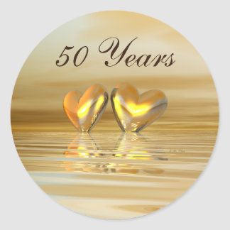 Golden Anniversary Hearts Round Sticker
