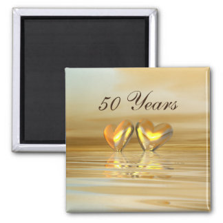 Golden Anniversary Hearts Square Magnet