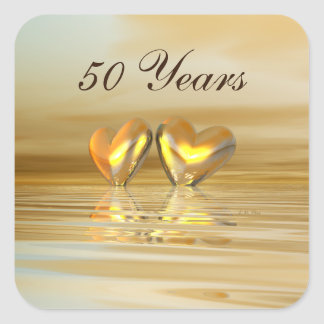 Golden Anniversary Hearts Square Sticker