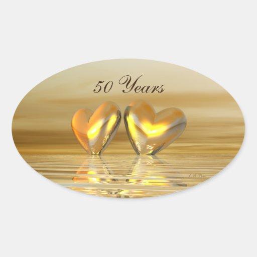 Golden Anniversary Hearts Sticker