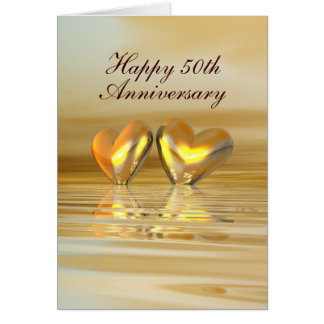 Golden Anniversary Hearts (Tall) Greeting Card