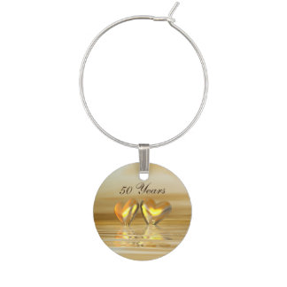 Golden Anniversary Hearts Wine Glass Charm