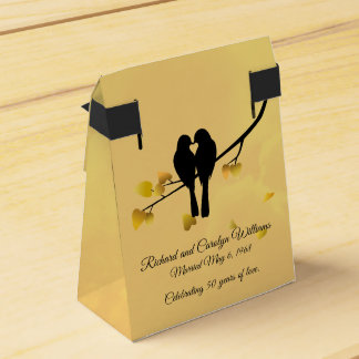 Golden Anniversary Lovebirds Favour Box