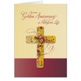 Golden Anniversary of Religious Life for Nun Cross Card