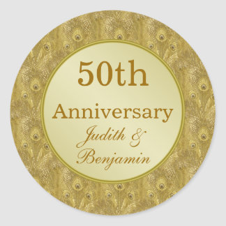Golden Anniversary on golden peacock background Classic Round Sticker