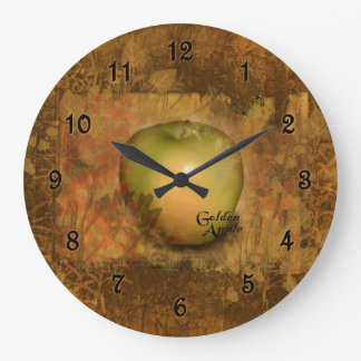 Golden Apple Botanical Large Clock