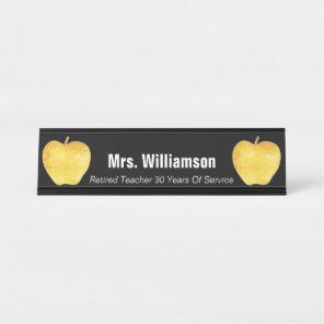 Golden Apple Retired Teacher Appreciation Thanks Desk Name Plate
