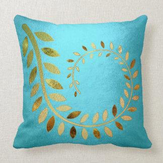 Golden Aquatic Autumn Fall Felice Leave Cushion
