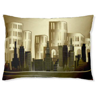 Golden architectural cityscape abstract