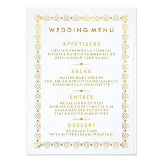 Golden Art Deco Wedding Menu Card