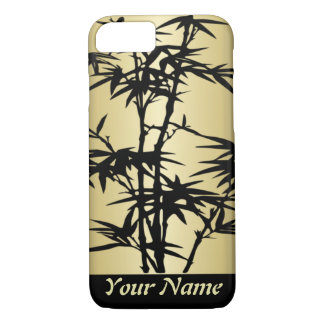 Golden Asian Black Bamboo silhouetteMonogram iPhone 7 Case