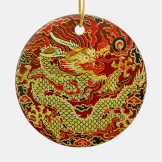 Golden asian dragon embroidered on dark red christmas ornament