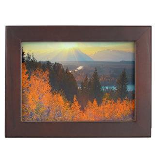 Golden Aspens Above Snake River At Sunset Keepsake Box