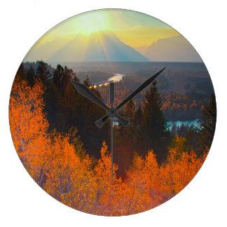 Golden Aspens Above Snake River At Sunset Large Clock