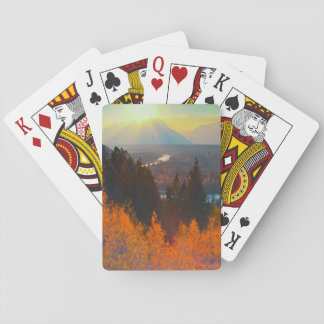 Golden Aspens Above Snake River At Sunset Playing Cards