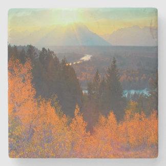 Golden Aspens Above Snake River At Sunset Stone Coaster