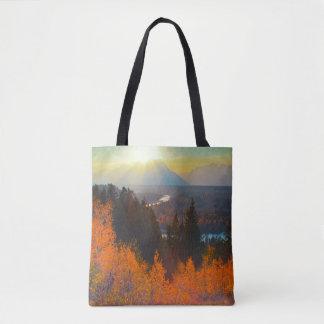 Golden Aspens Above Snake River At Sunset Tote Bag