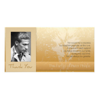 Golden Asphodel Frame Photo Sympathy Thank You P Customized Photo Card