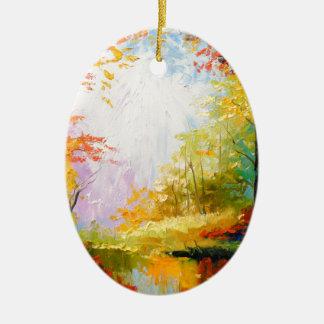 Golden autumn christmas ornament