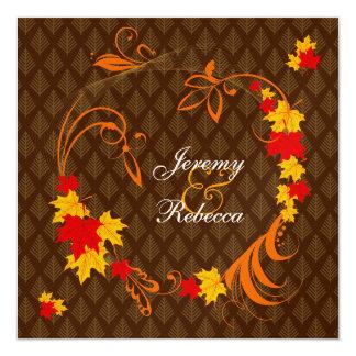 Golden Autumn Flourish Wedding Card