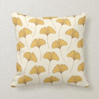 Golden Autumn Ginkgo Leaves Cushion