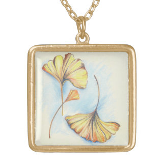 Golden Autumn Ginkgo Leaves Gold Plated Necklace