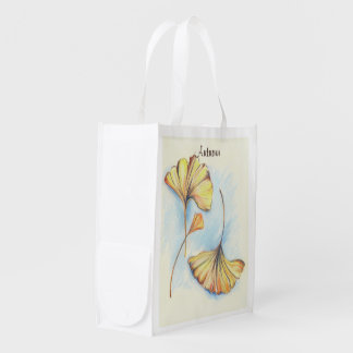 Golden Autumn Ginkgo Leaves Reusable Grocery Bag