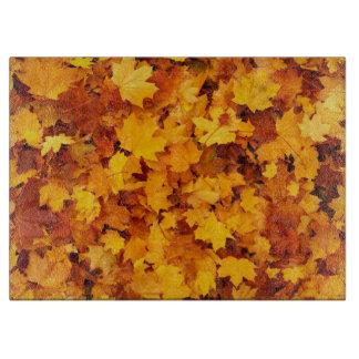 Golden Autumn Leaf Cutting Board