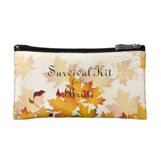 Golden Autumn Leaves Bridal Survival Kit Makeup Bag